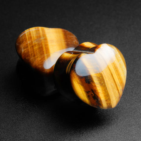 Yellow Tiger's Eye Heart Shaped Double Flare Stone Plug