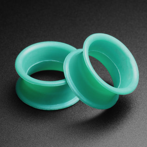 Ultra Thin Turquoise Silicone Double Flare Tunnel