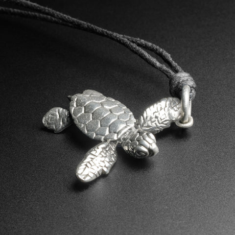Turtle White Brass Pendant With Adjustable Cord Necklace