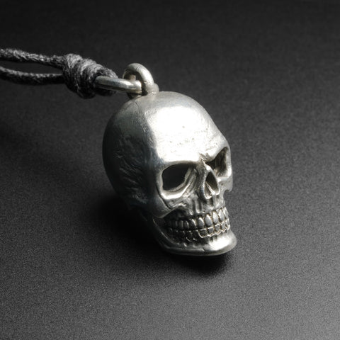 Skull White Brass Pendant With Adjustable Cord Necklace