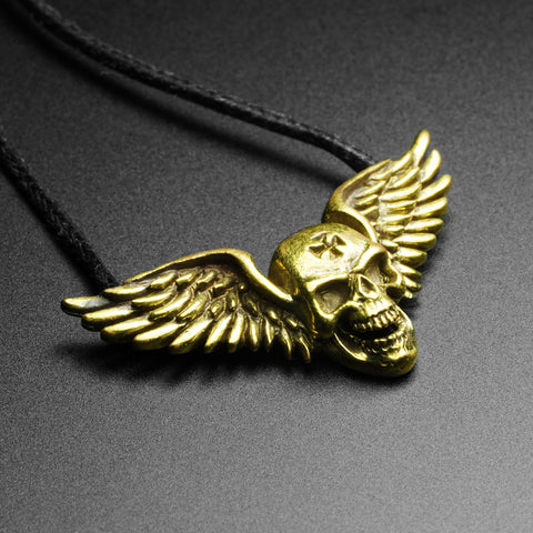 Winged Skull Brass Pendant With Adjustable Cord Necklace