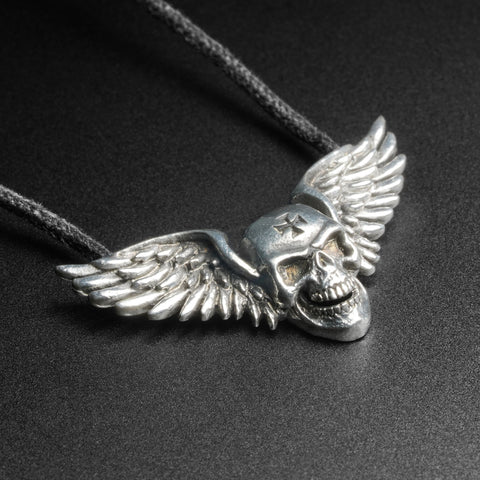 Winged Skull White Brass Pendant With Adjustable Cord Necklace