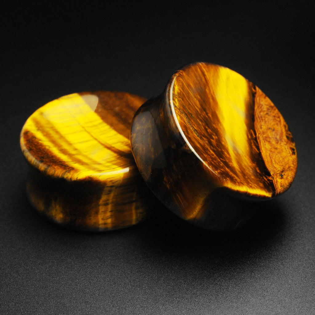 Yellow Tiger's Eye Double Flare Concave Plug