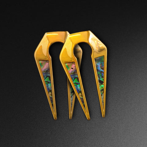 Abalone Shell Inlaid Gold PVD Keyhole Ear Weight