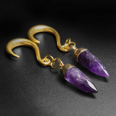 Amethyst Faceted Pendant With Gold PVD Hook Mini Ear Weight
