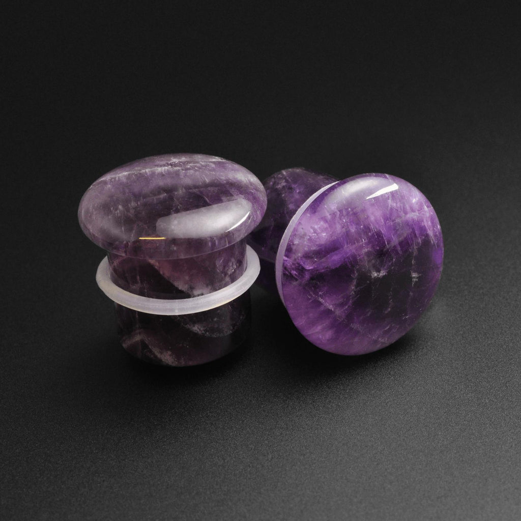 Amethyst Single Flare Convex Stone Plug