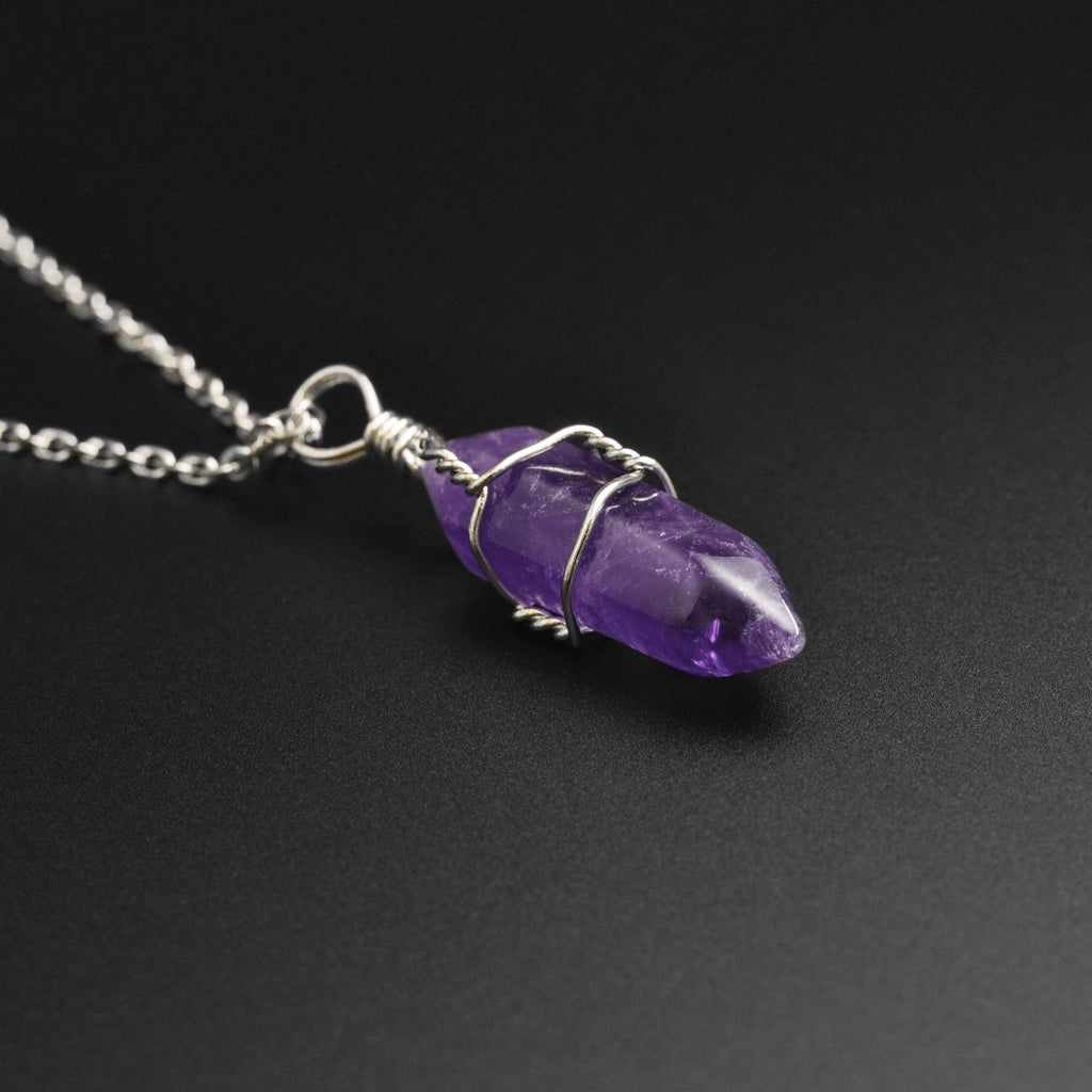 Amethyst Wire Wrap Stone Pendant Necklace