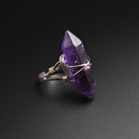 Amethyst Wire Wrap Stone Ring