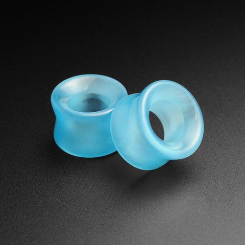 Aqua Cat's Eye Glass Double Flare Concave Tunnel