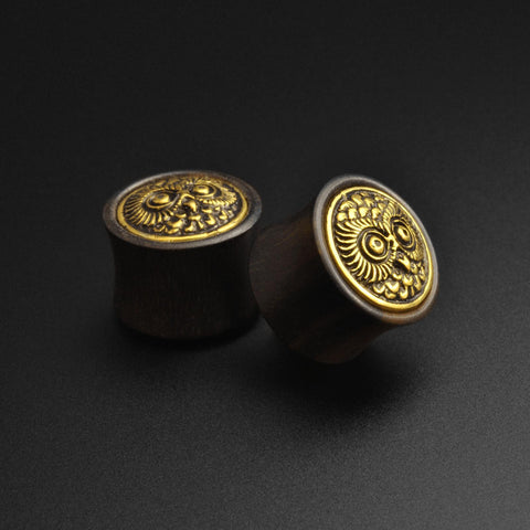 Areng Wood Double Flare Plug With Brass Owl Inlay