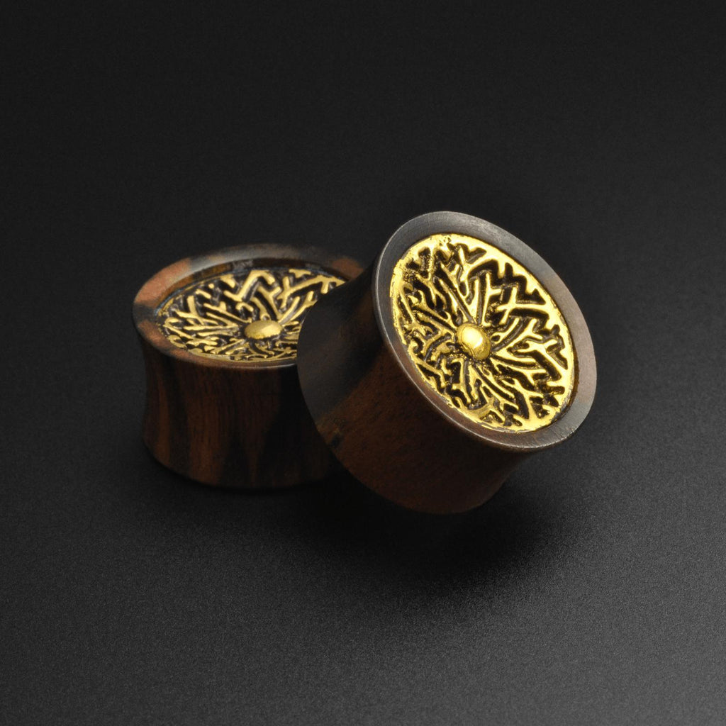 Areng Wood Double Flare Plug With Brass Shield Inlay