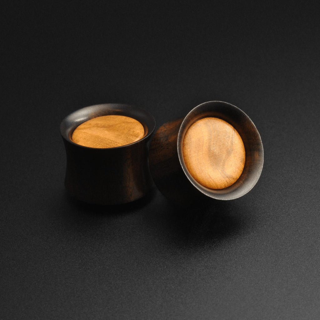 Areng Wood Double Flare Plug With Olive Wood Inlay