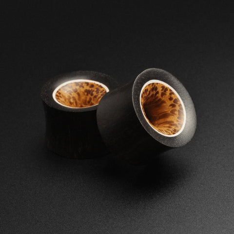 Areng Wood Double Flare Tunnel With Coconut Wood & Bone Halo Inlay