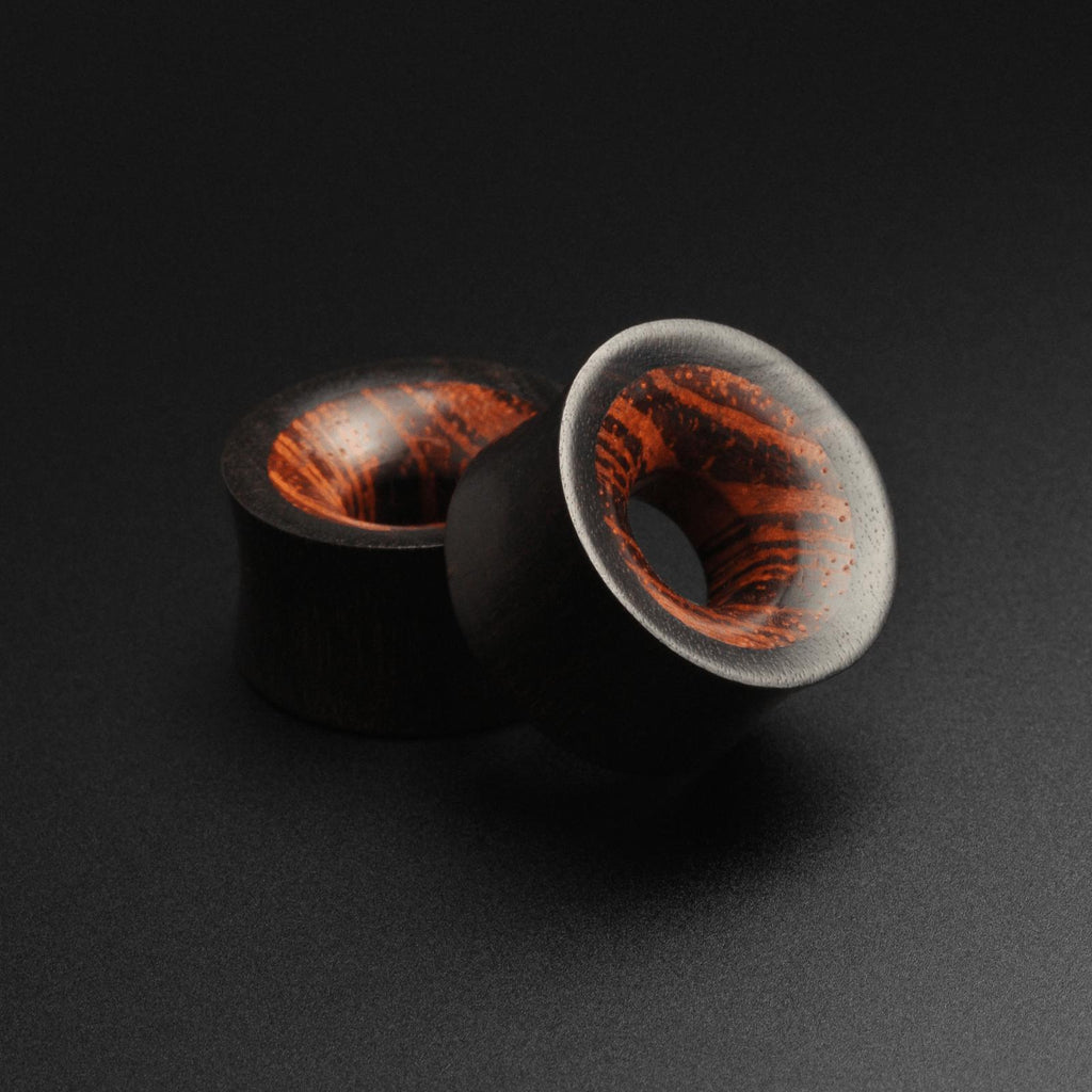 Wooden Flesh TunnelsAreng Wood Double Flare Tunnel With Rangas Wood Inlay