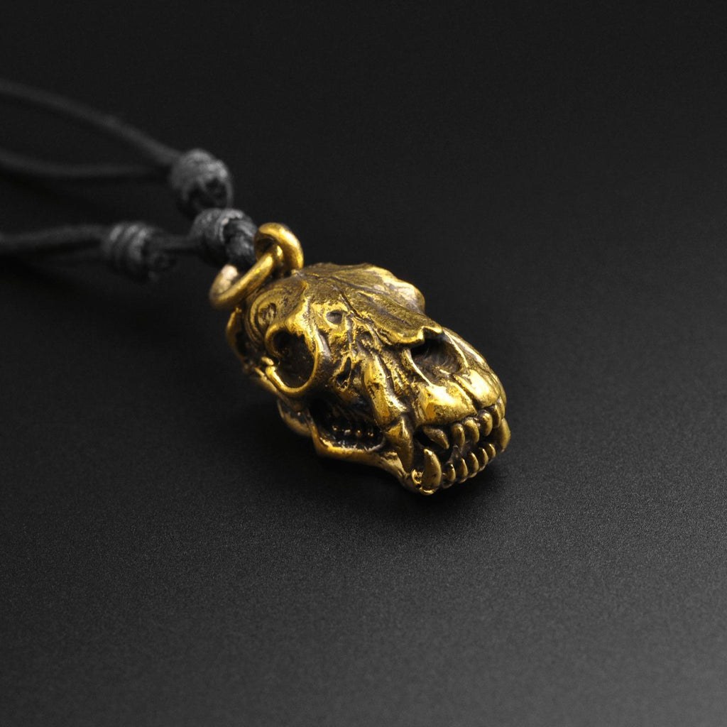 Bear Skull Brass Pendant With Adjustable Cord Necklace