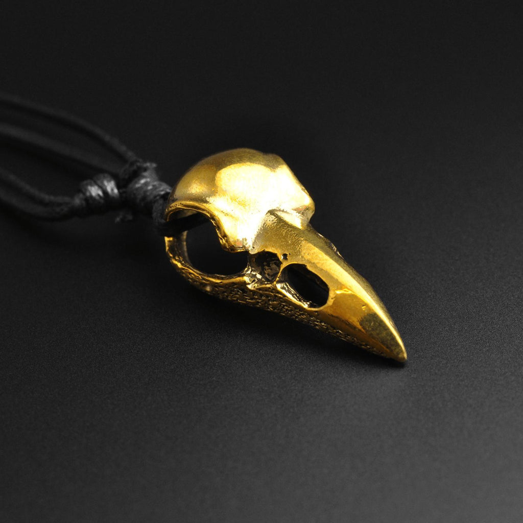 Bird Skull Brass Pendant With Adjustable Cord Necklace