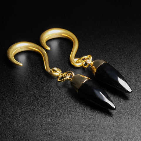 Black Agate Faceted Pendant With Gold PVD Hook Mini Ear Weight