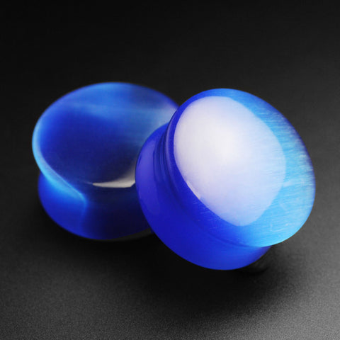 Blue Cat's Eye Glass Double Flare Convex Plug