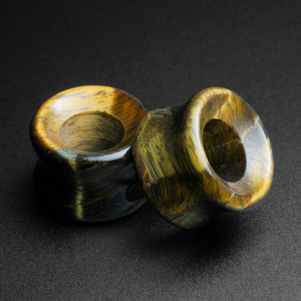 Blue Tiger's Eye Double Flare Concave Stone Tunnel