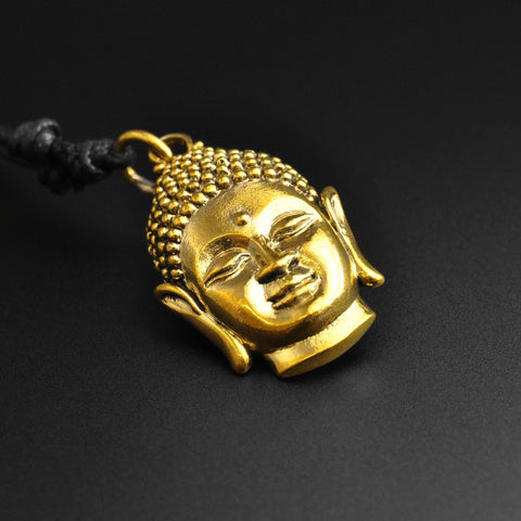 Buddha Head Brass Pendant With Adjustable Cord Necklace
