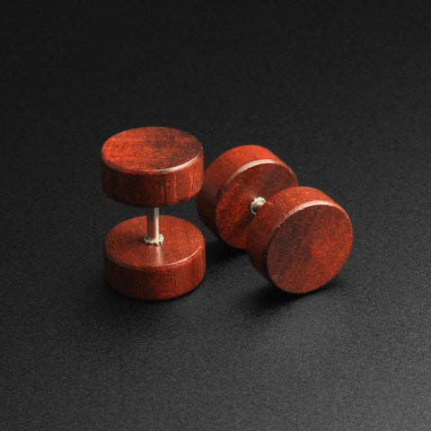 Cherry Wood Fake Gauge Plug