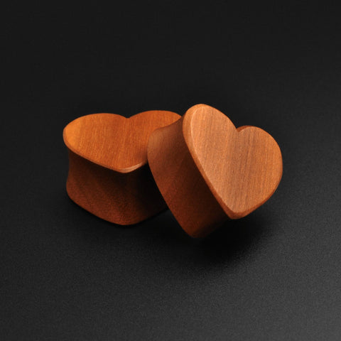 Cherry Wood Heart Shaped Double Flare Plug