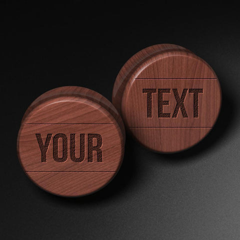 Custom Block Text Laser Engraved Saba Wood Plug
