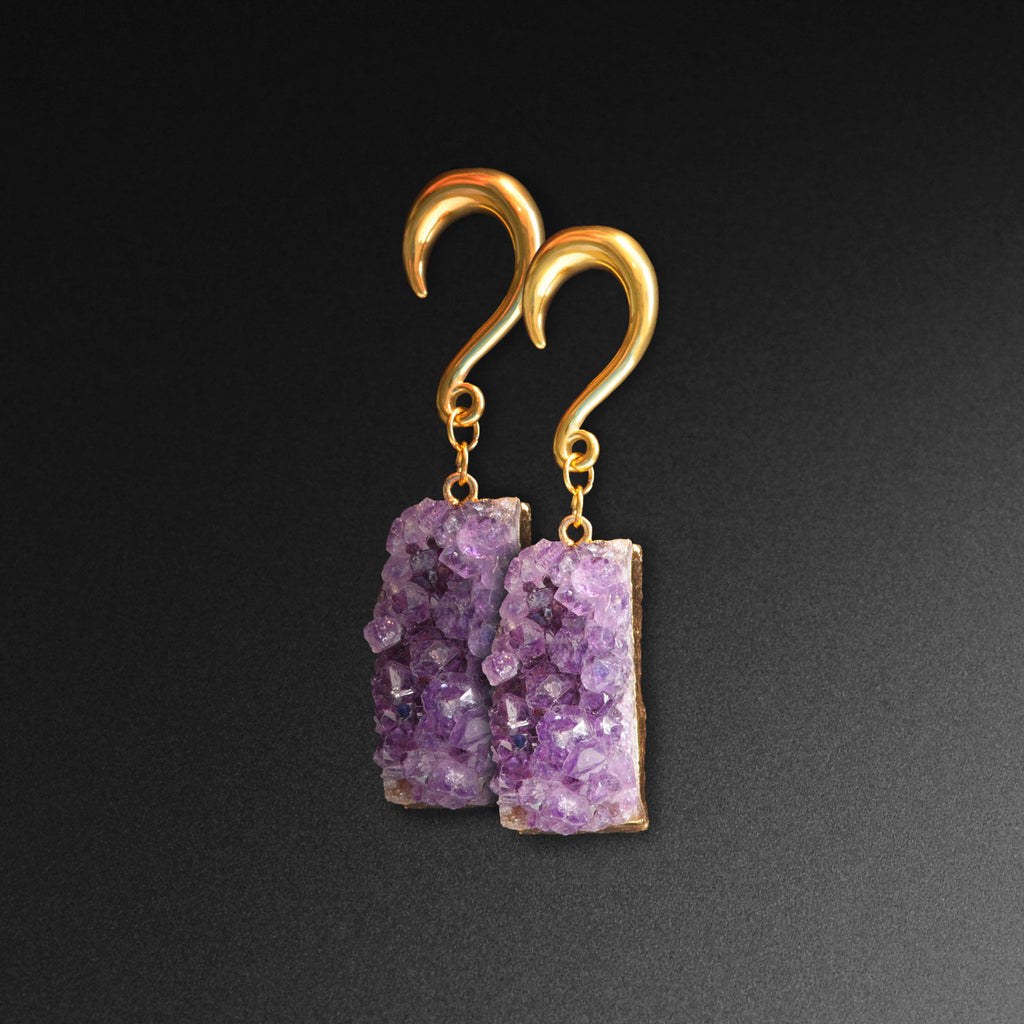 Druzy Amethyst & Gold PVD Surgical Steel Ear Weight