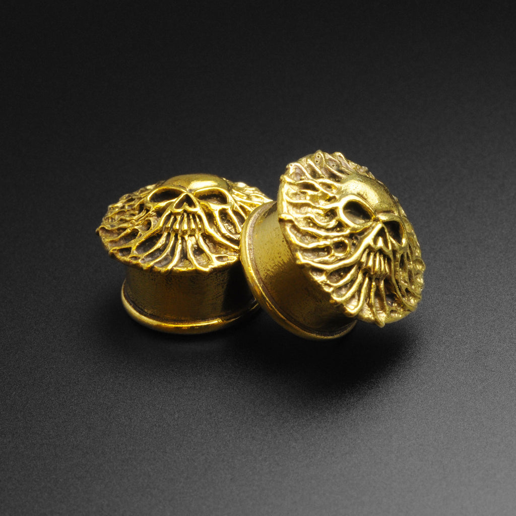 Emerging Skull Brass Double Flare Plug