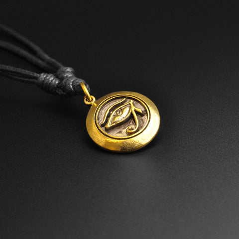 Eye Of Horus Brass Pendant With Adjustable Cord Necklace
