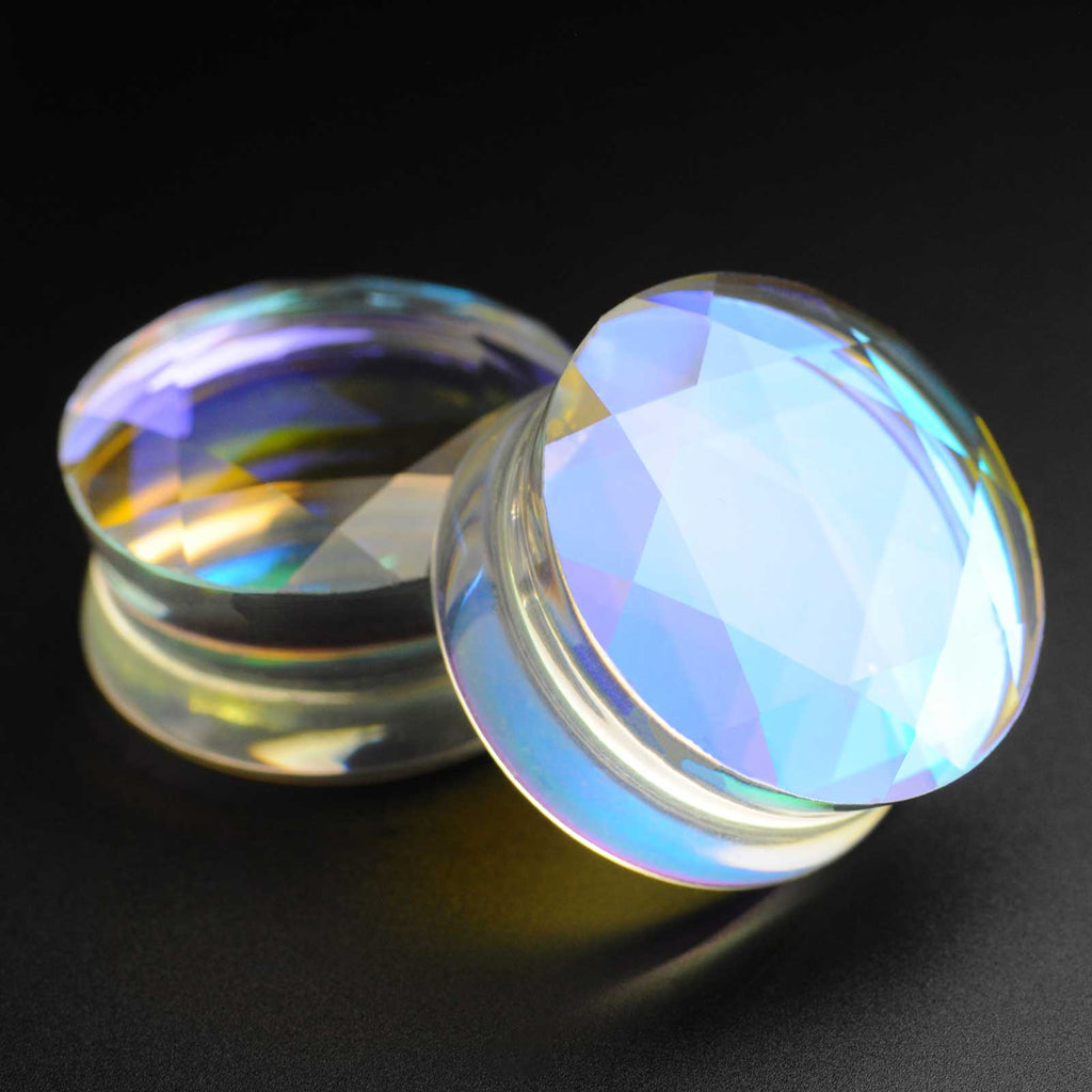 Faceted Aurora Glass Double Flare Plug