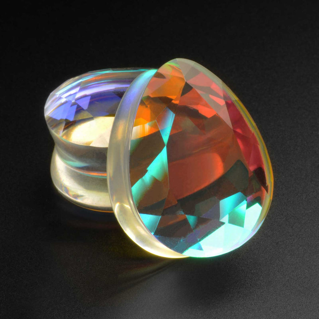 Faceted Aurora Glass Double Flare Teardrop Plug