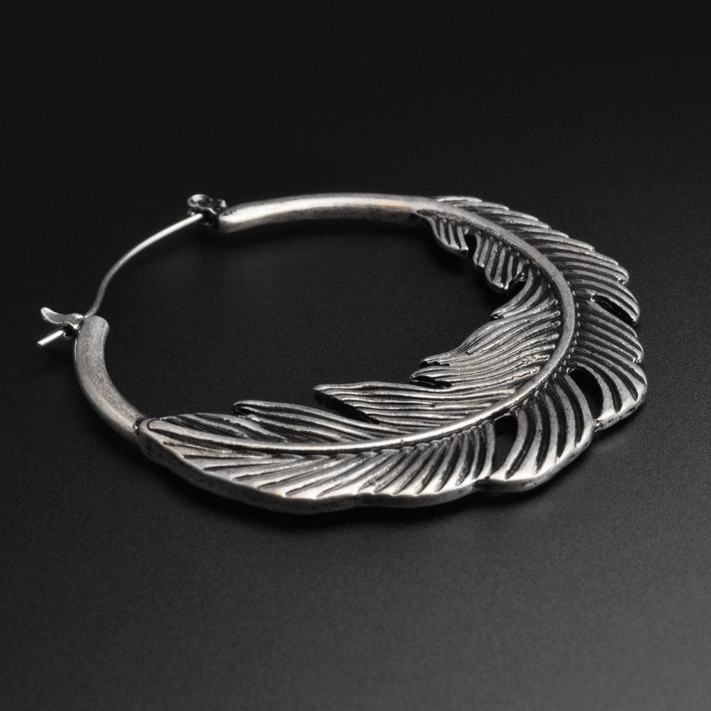 Feather Antique Silver Plug Hoops