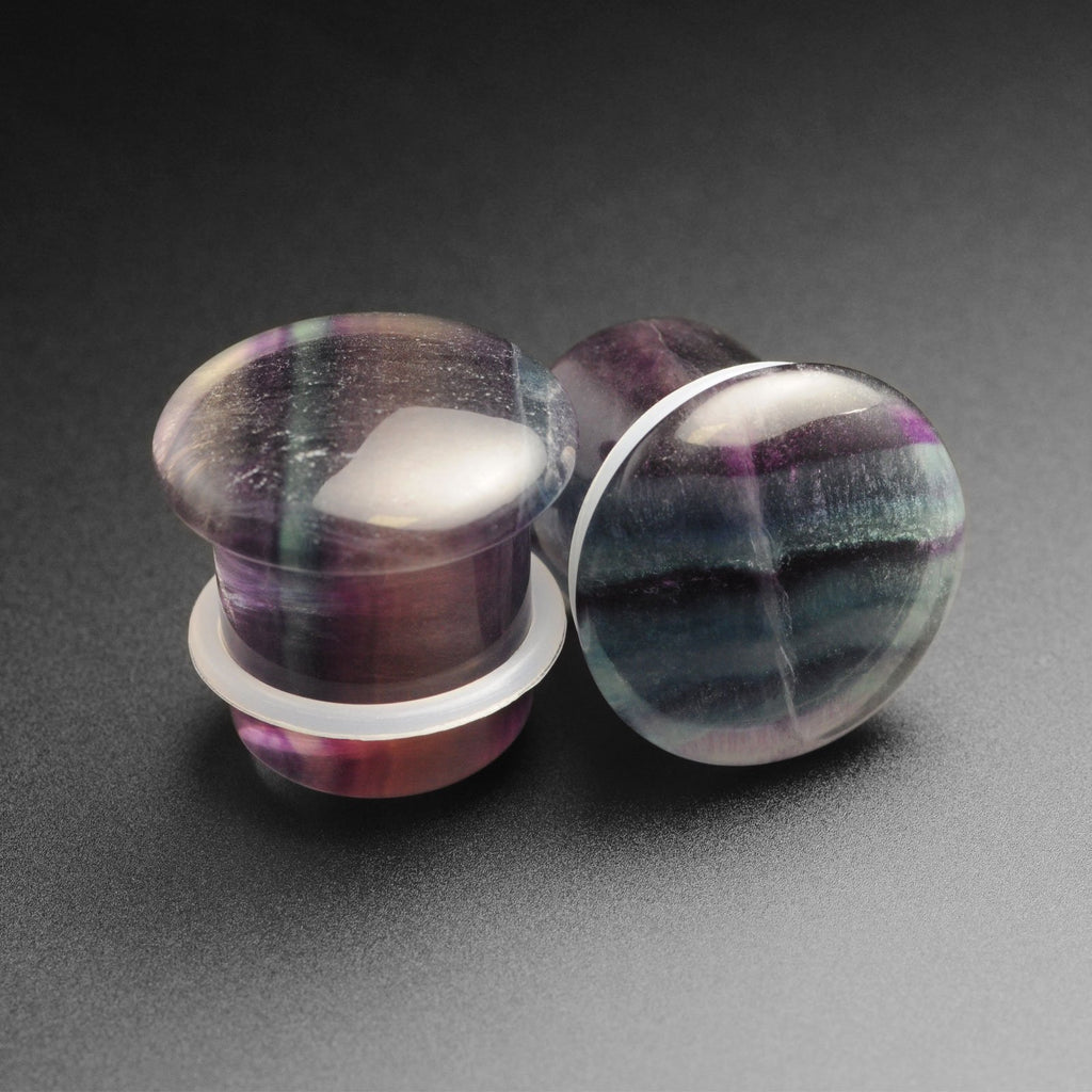 Rainbow Fluorite Single Flare Convex Stone Plug