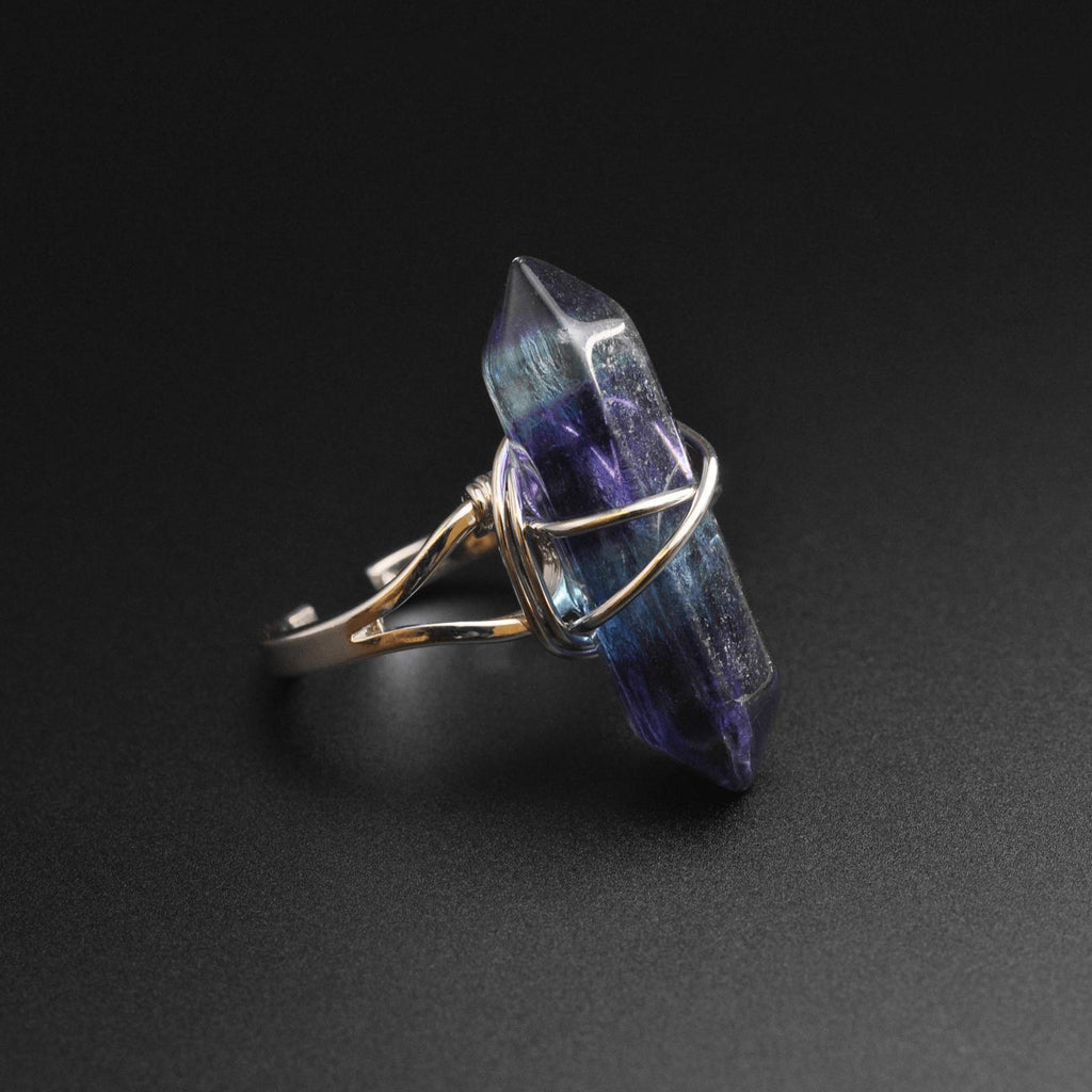 Fluorite Wire Wrap Stone Ring