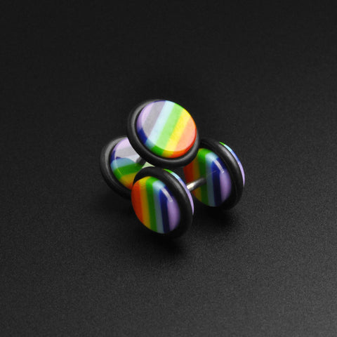 Gay Pride Rainbow Acrylic Fake Gauge Plug