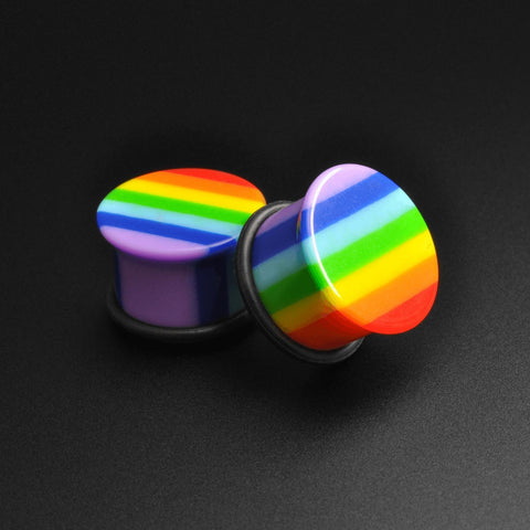 Gay Pride Rainbow Acrylic Single Flare Plug