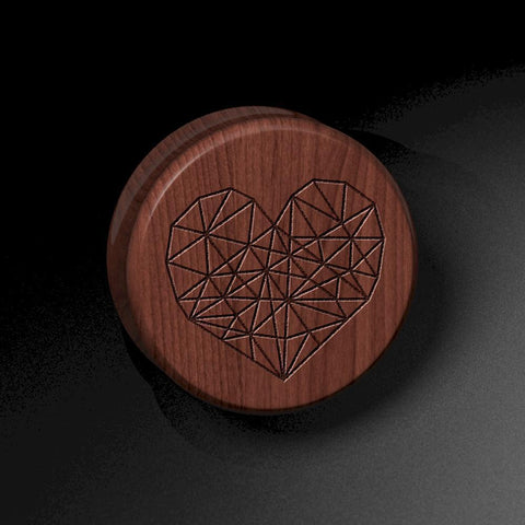 Geometric Heart Laser Engraved Saba Wood Plug