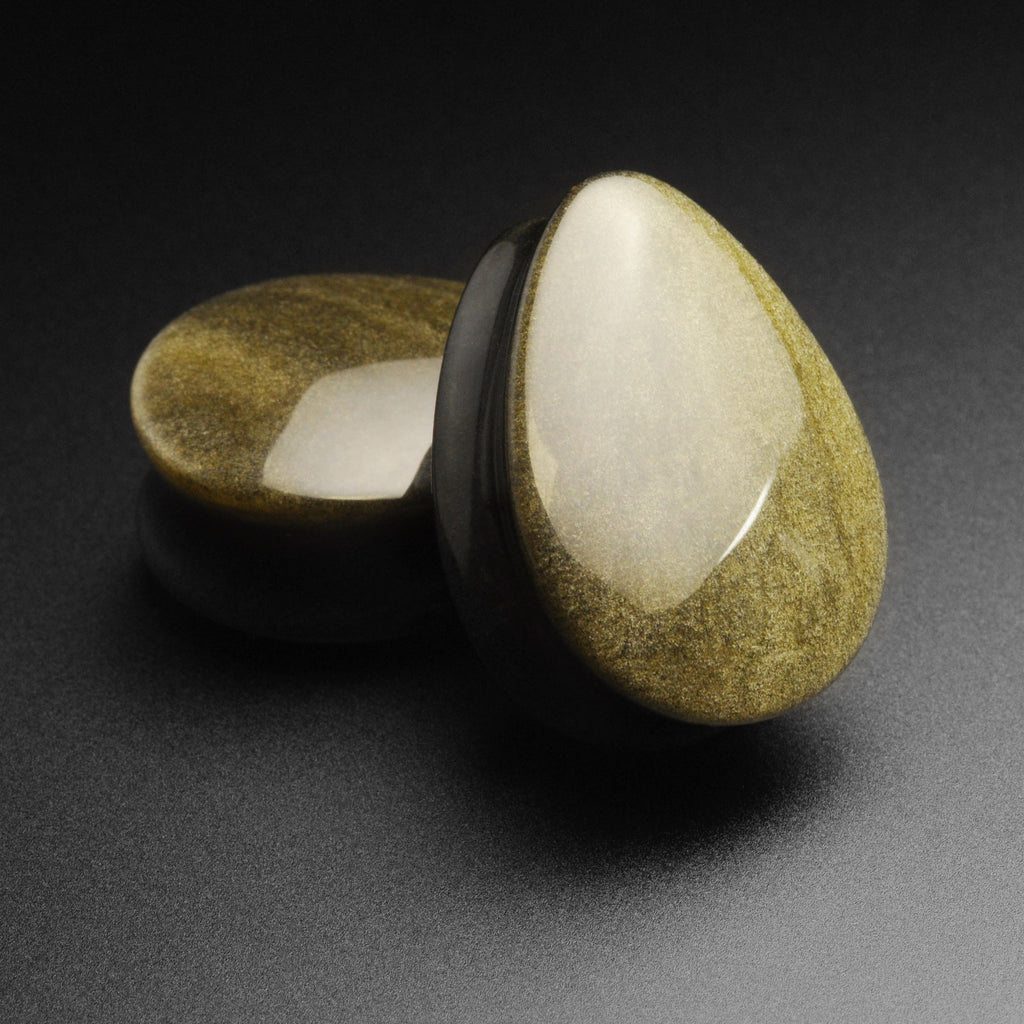 Golden Obsidian Double Flare Convex Teardrop Plug