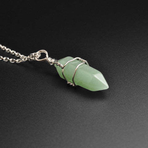 Green Aventurine Wire Wrap Stone Pendant Necklace