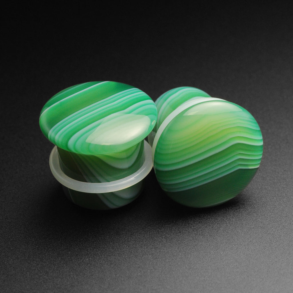 Green Striped Agate Single Flare Convex Stone Plug