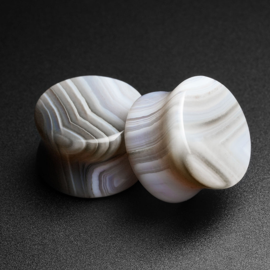 Grey Striped Agate Double Flare Stone Plug