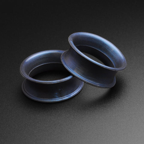 Gunmetal Blue Metallic Silicone Double Flare Tunnel