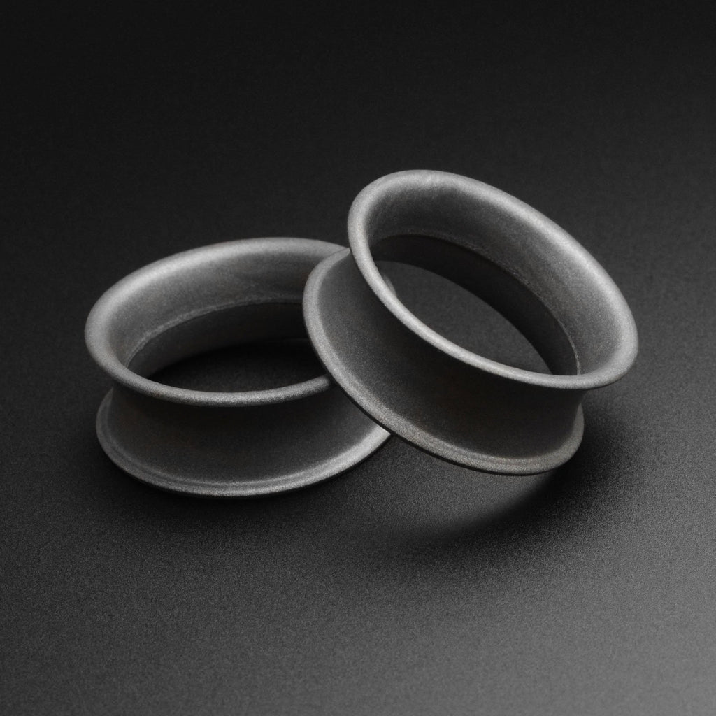Gunmetal Grey Metallic Silicone Double Flare Tunnel