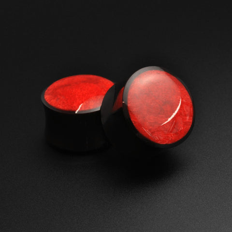 Horn Double Flare Plug With Red Coral Inlay