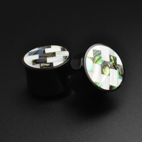 Horn Double Flare Plug With Shell Mosaic Inlay