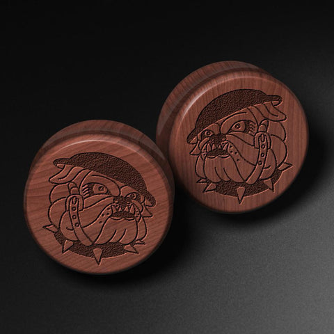 Lee Pound's Bulldog Laser Engraved Saba Wood Plug