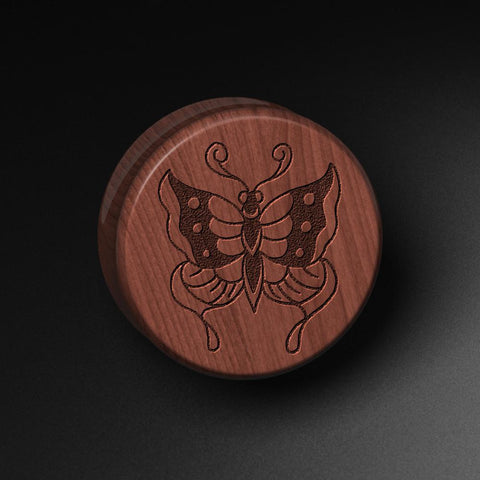 Lee Pound's Butterfly Laser Engraved Saba Wood Plug