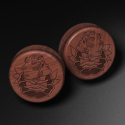 Lee Pound's Flower Girl Laser Engraved Saba Wood Plug