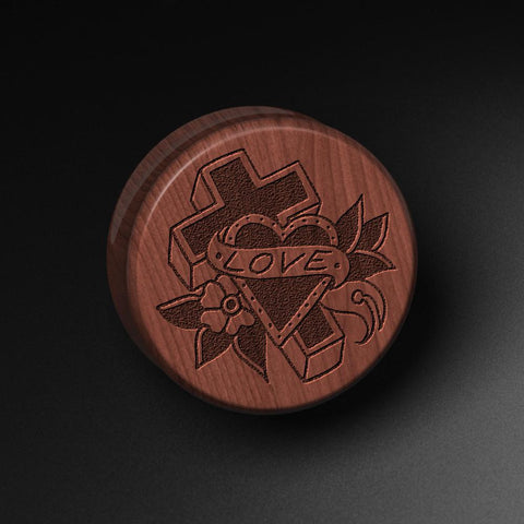 Lee Pound's Love Cross Laser Engraved Saba Wood Plug